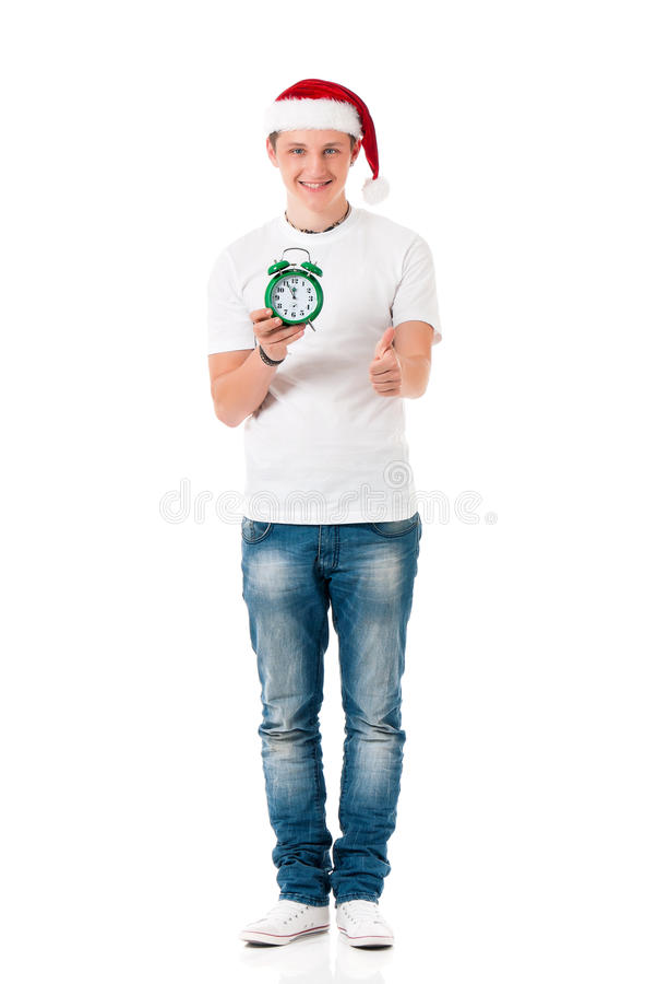 Mężczyzna Santa z zielonym budzikiem fotografia stock