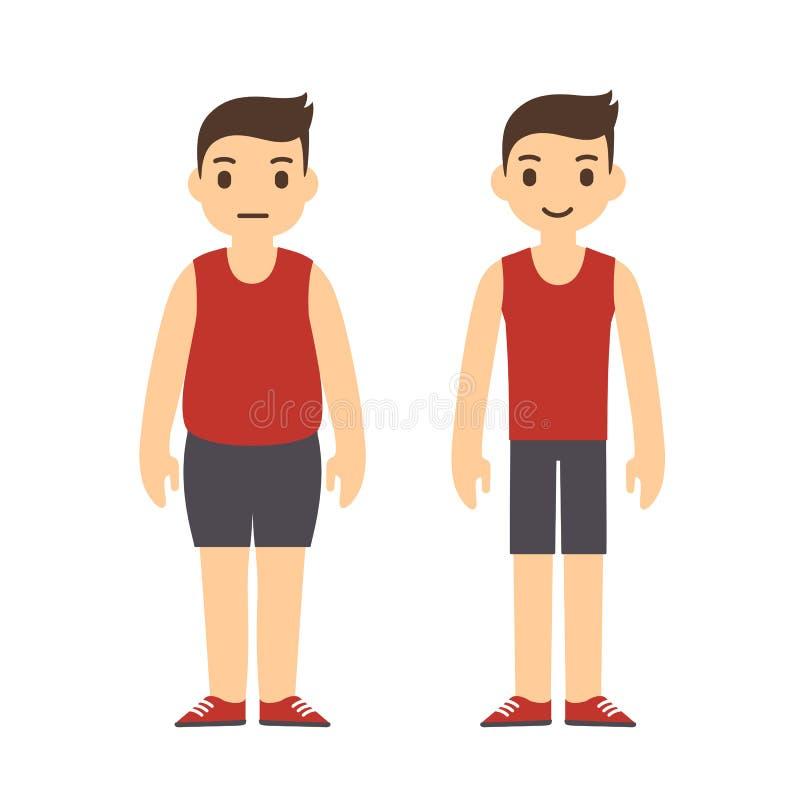Mężczyzna schudnięcie i nadwaga ilustracji