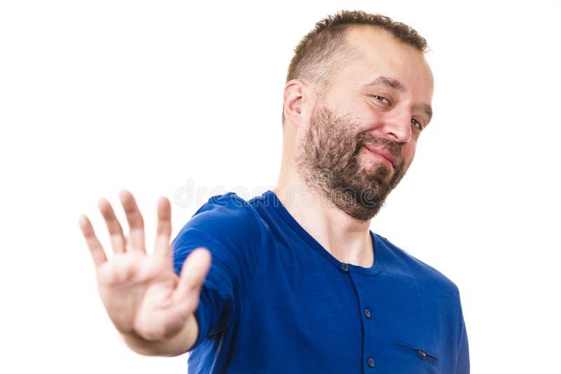 Mężczyzna seansu przerwy gest Neutralny tło obrazy royalty free