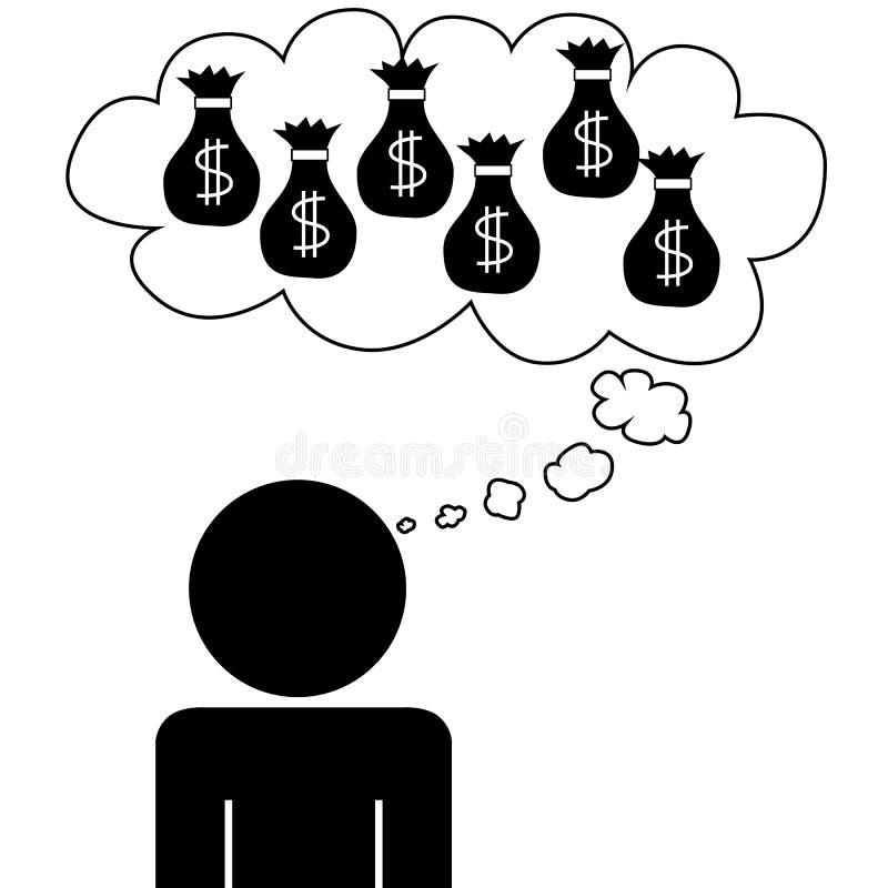 Mężczyzna sen przy pieniądze ilustracja wektor