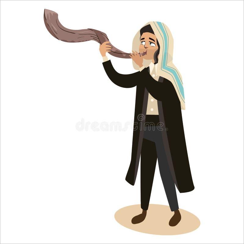 Mężczyzna Shofar podmuchowy róg dla Żydowskiego nowego roku, Rosh Hashanah wakacje, judaism religii wektorowa ilustracyjna kreskó ilustracja wektor