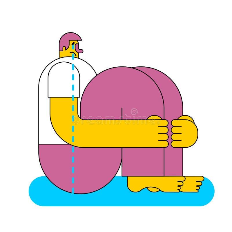 Mężczyzna siedzi i płacze Łzy i żal również zwrócić corel ilustracji wektora ilustracji