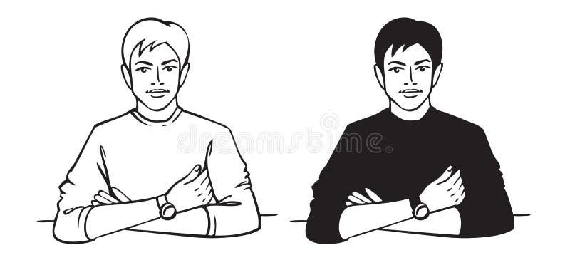 Mężczyzna siedzi przy stołem ilustracja wektor