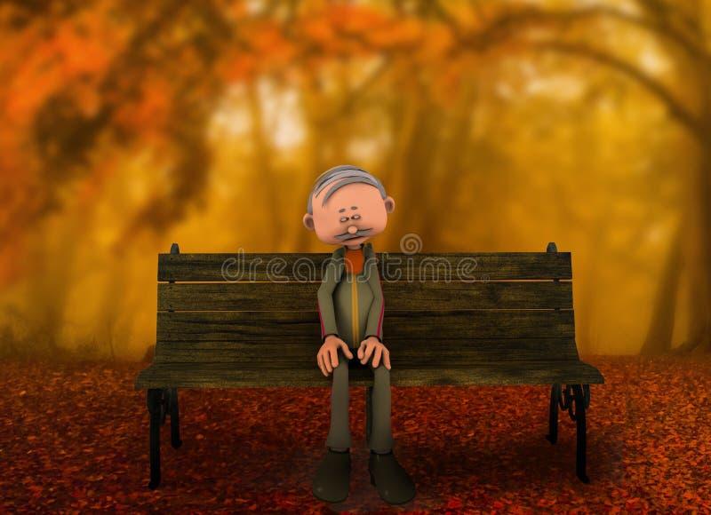 Mężczyzna siedzi samotnie na ławce royalty ilustracja