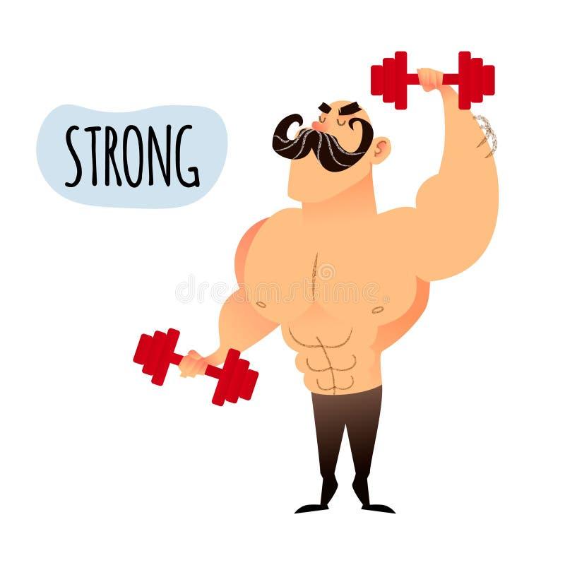 mężczyzna silny mięśniowy Śmieszny sportowy bodybuilder facet ilustracja wektor
