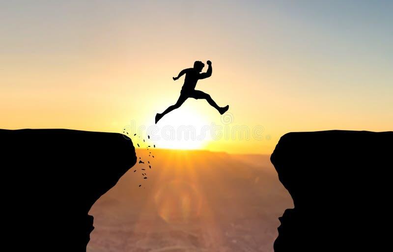 Mężczyzna skacze nad bezdennością zdjęcia stock