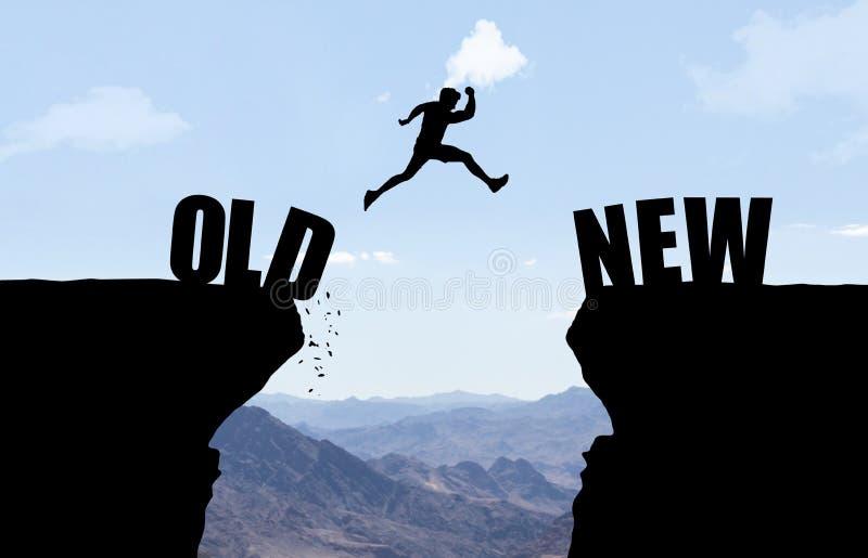 Mężczyzna skacze nad bezdennością z tekstem OLD/NEW ilustracja wektor