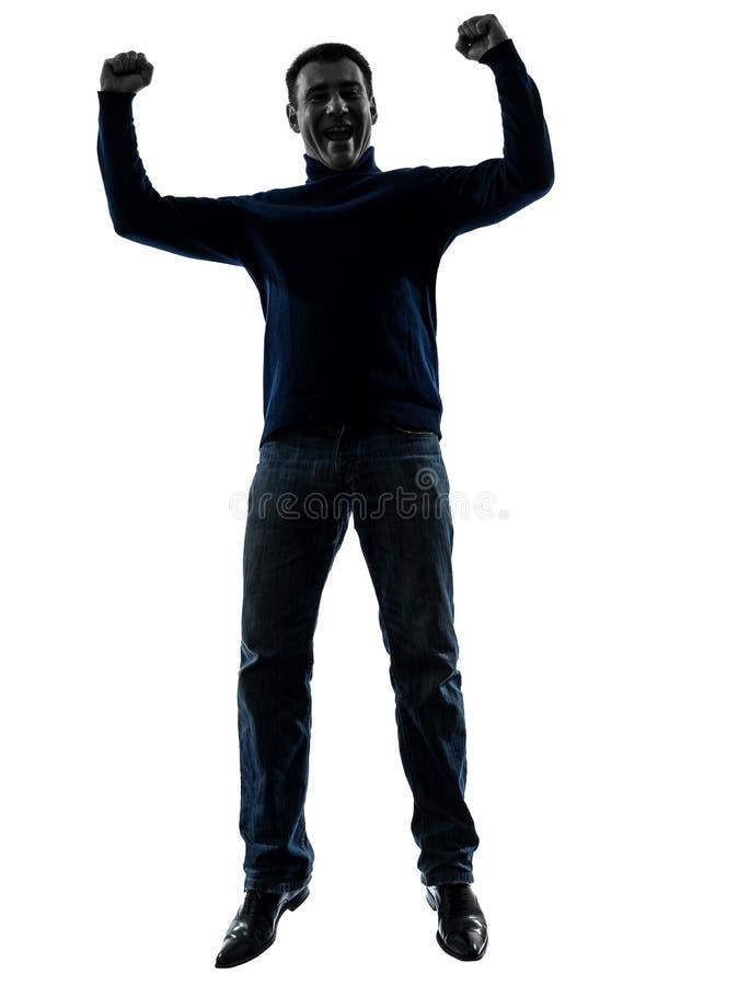 Mężczyzna Skacze Szczęśliwa Zwycięska Sylwetka Folującą Długość Fotografia Royalty Free