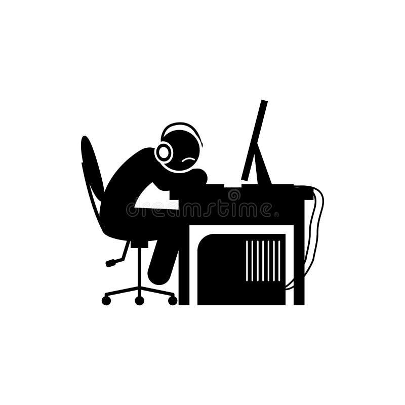 mężczyzna smutna zmęczona ikona Element gamer ikona dla mobilnych pojęcia i sieci apps Glifu mężczyzna smutna zmęczona ikona może royalty ilustracja