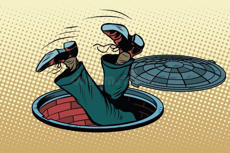 Mężczyzna spadał w manhole metra kanał ściekowego royalty ilustracja