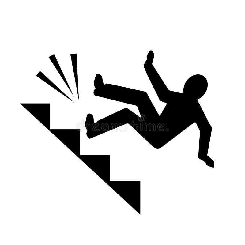 Mężczyzna spada od schodka wektoru piktograma ilustracji