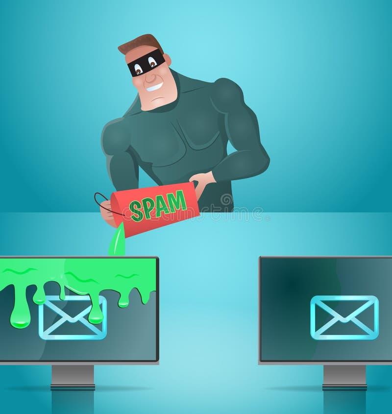 Mężczyzna spamming emaile ilustracja wektor