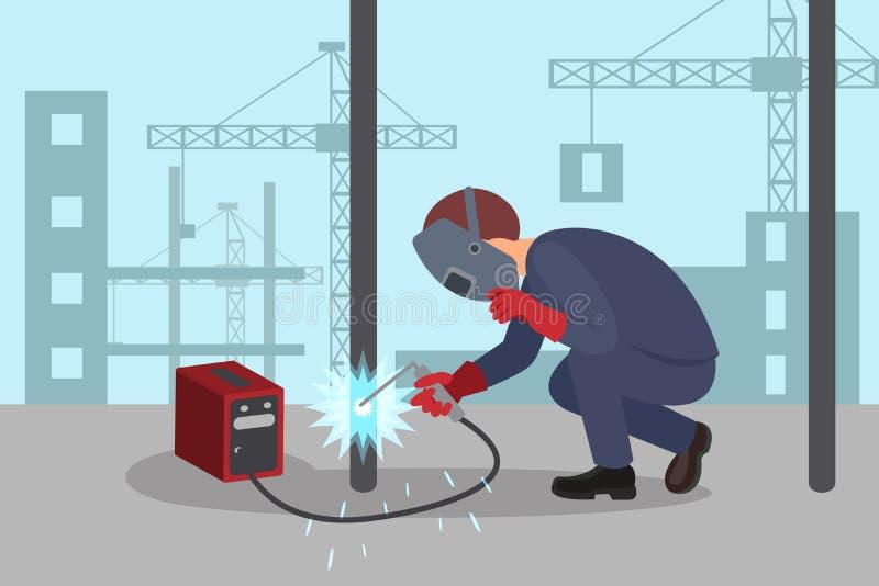 Mężczyzna spawa stalową budowę spawalniczą maszyną Fachowy spawacz przy pracą Podnośni żurawie i budynki na tle ilustracji