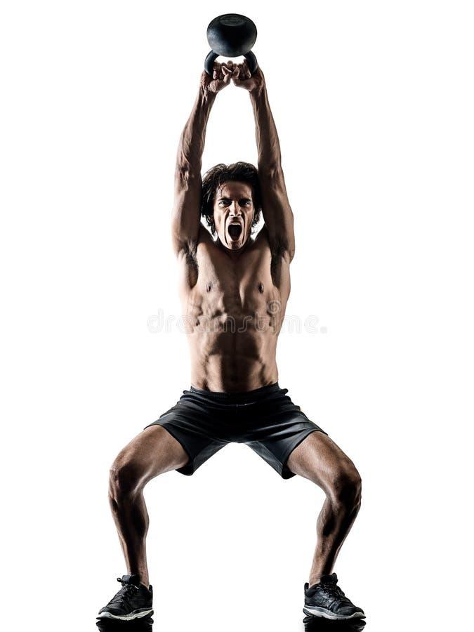 Mężczyzna sprawności fizycznej weitghs ćwiczeń szkoleniowych sylwetki odosobniony biel zdjęcie royalty free