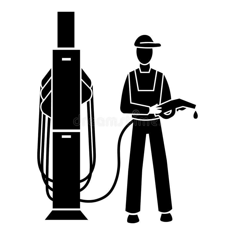 Mężczyzna stacji benzynowej ikona, prosty styl ilustracji