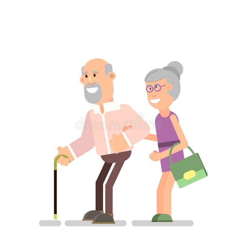 mężczyzna stara kobieta ilustracja wektor
