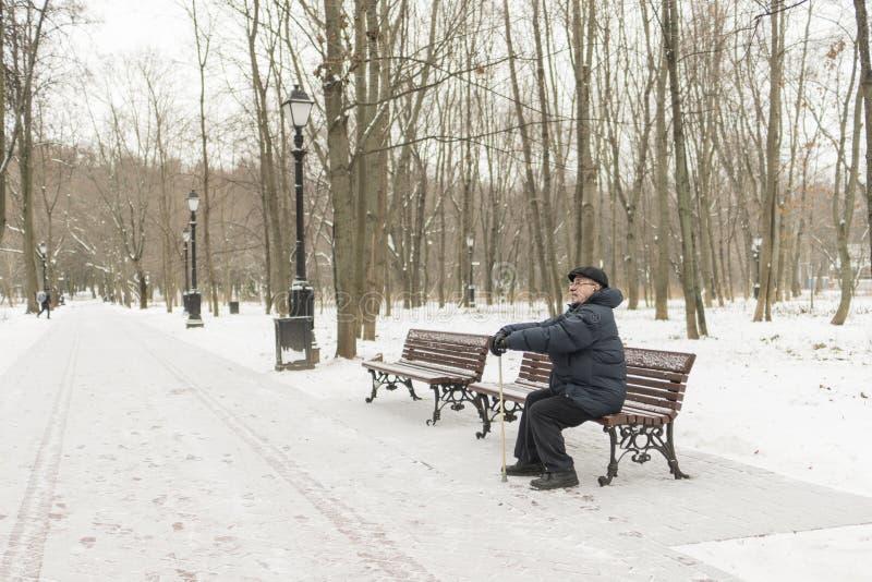 Mężczyzna - starszy emeryt, siedzi na parkowej ławce w zimie Hig obraz stock