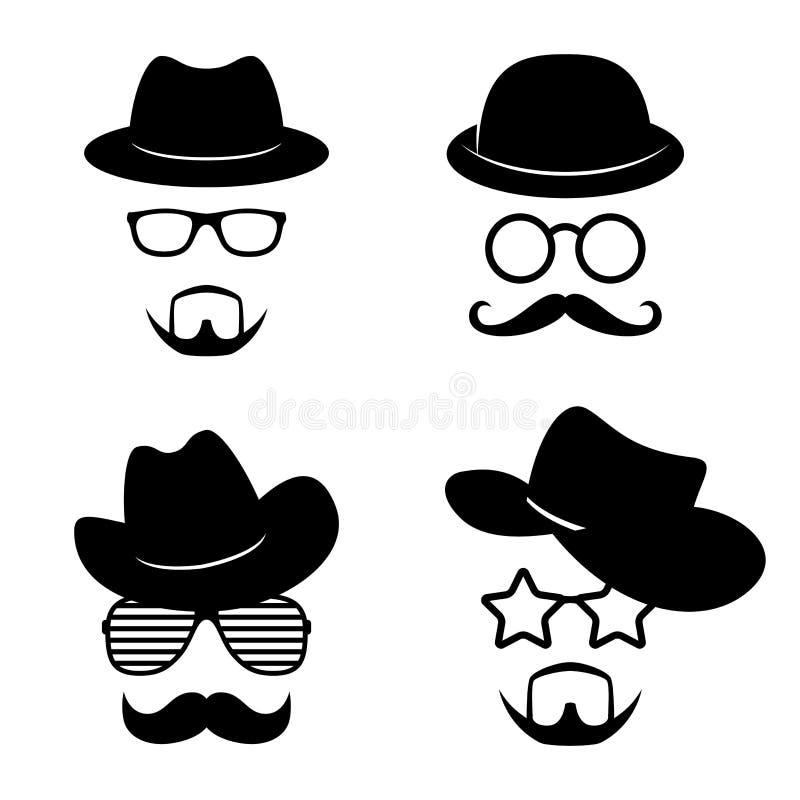 Mężczyzna stawia czoło z szkłami, wąsy, broda, kapelusze Fotografia podpiera kolekcje Retro przyjęcie set wektor ilustracja wektor