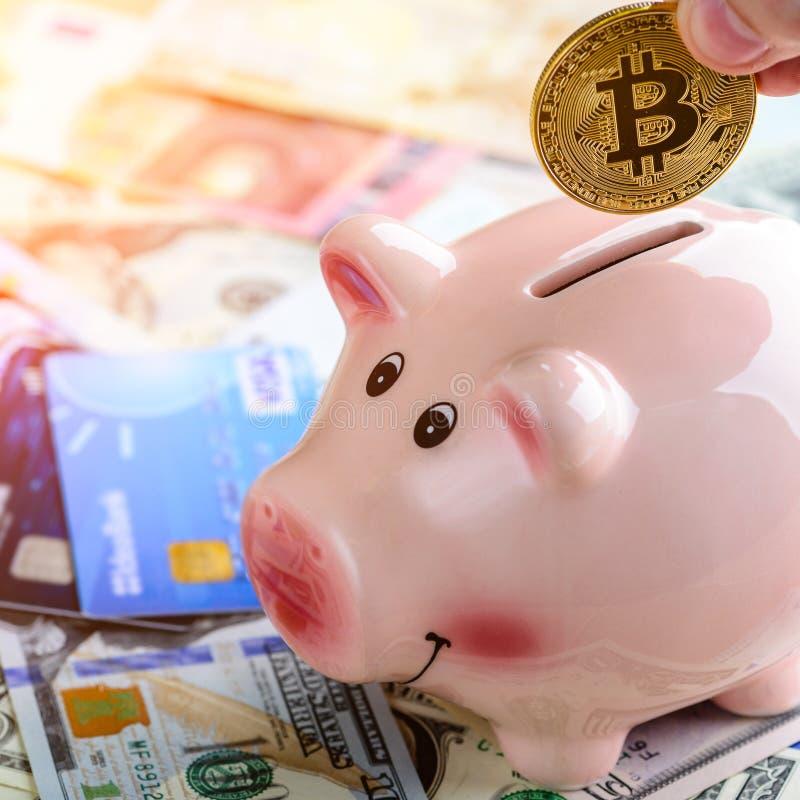 Mężczyzna stawia złotą bitcoin monetę w prosiątko banku w promieniach słońce C zdjęcia stock