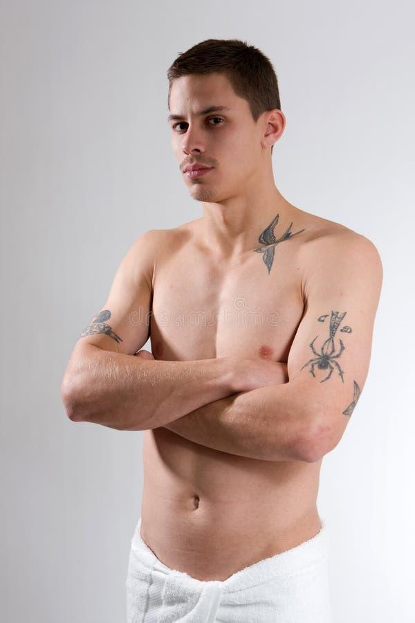 mężczyzna stern tatuaż fotografia stock