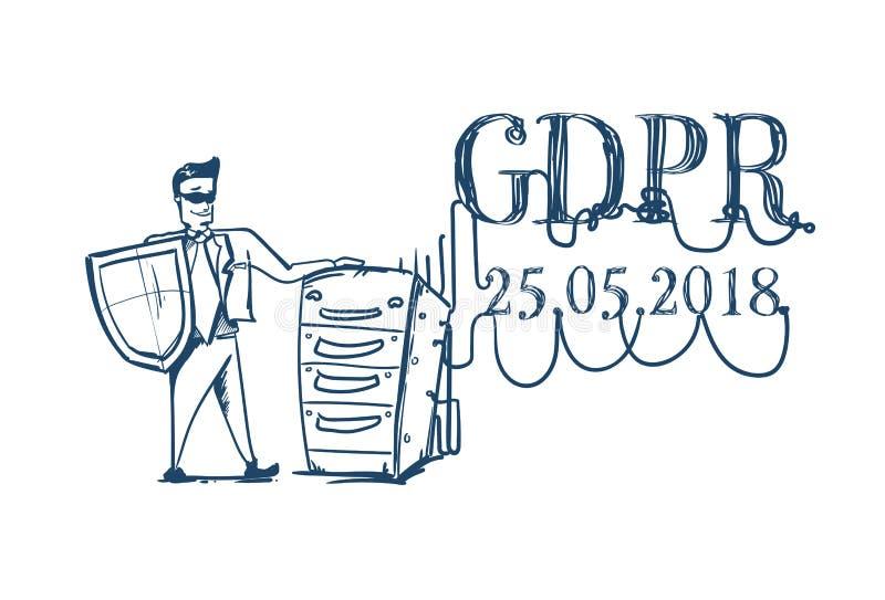 Mężczyzna stoi blisko surowego serwerów Ogólnych dane ochrony GDPR serweru secuirity Przepisowy strażnik w garnitur osłonie ilustracja wektor