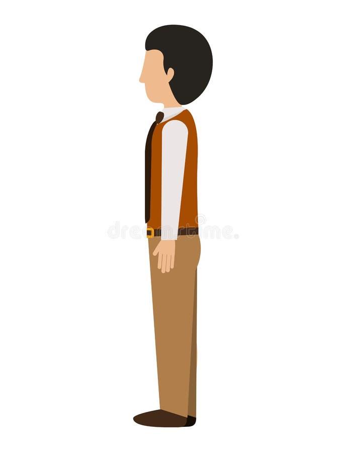 Mężczyzna stoi lewego profilowego blezer z krawatem ilustracji