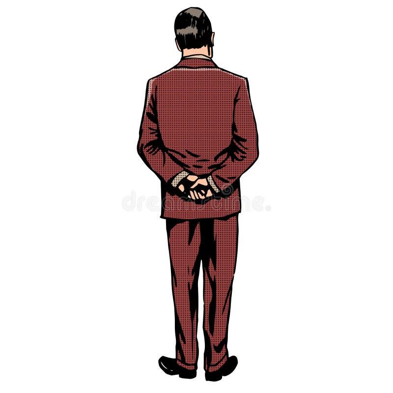 Mężczyzna stoi z powrotem retro stylowego wystrzał sztuki rocznika ilustracji