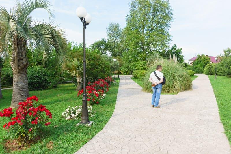 Mężczyzna stojaki na rozwidleniu w drodze w pięknym parku południowa miejscowość wypoczynkowa fotografia royalty free