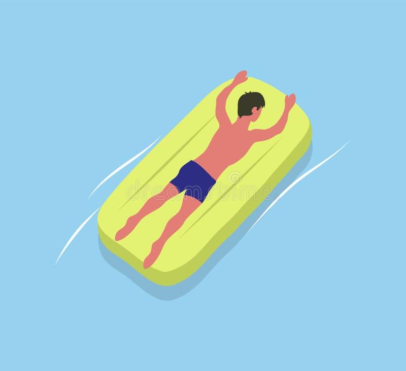 Mężczyzna Suntanning na Żółtej materac Samiec przy morzem ilustracji