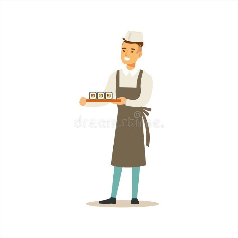 Mężczyzna suszi Fachowy Kulinarny szef kuchni Pracuje W Japońskiej restauraci Jest ubranym Klasycznego Tradycyjnego Jednolitego p ilustracja wektor