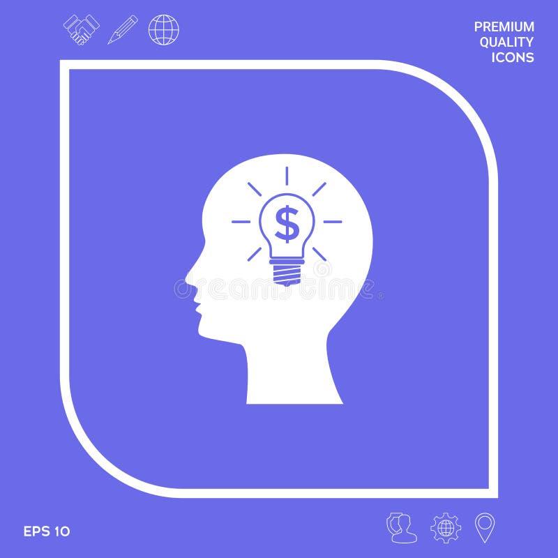 Mężczyzna sylwetka - żarówka z dolarowego symbolu pojęcia biznesową ikoną Graficzni elementy dla twój projekta royalty ilustracja