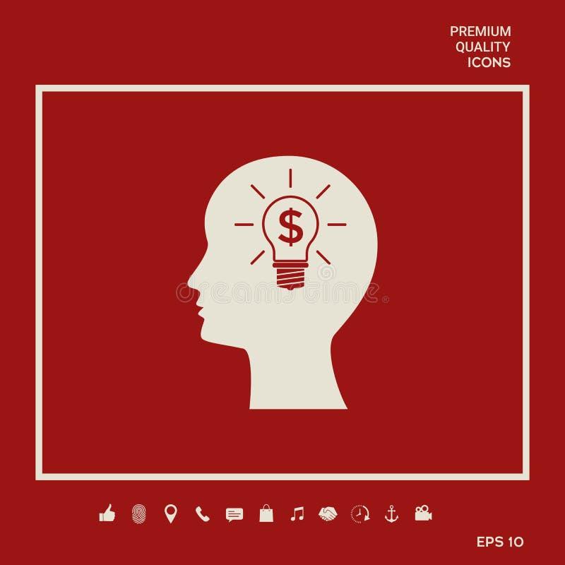Mężczyzna sylwetka - żarówka z dolarowego symbolu pojęcia biznesową ikoną Graficzni elementy dla twój projekta ilustracja wektor