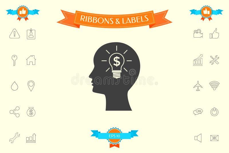 Mężczyzna sylwetka - żarówka z dolarowym symbolu biznesu pojęciem ikona ilustracja wektor