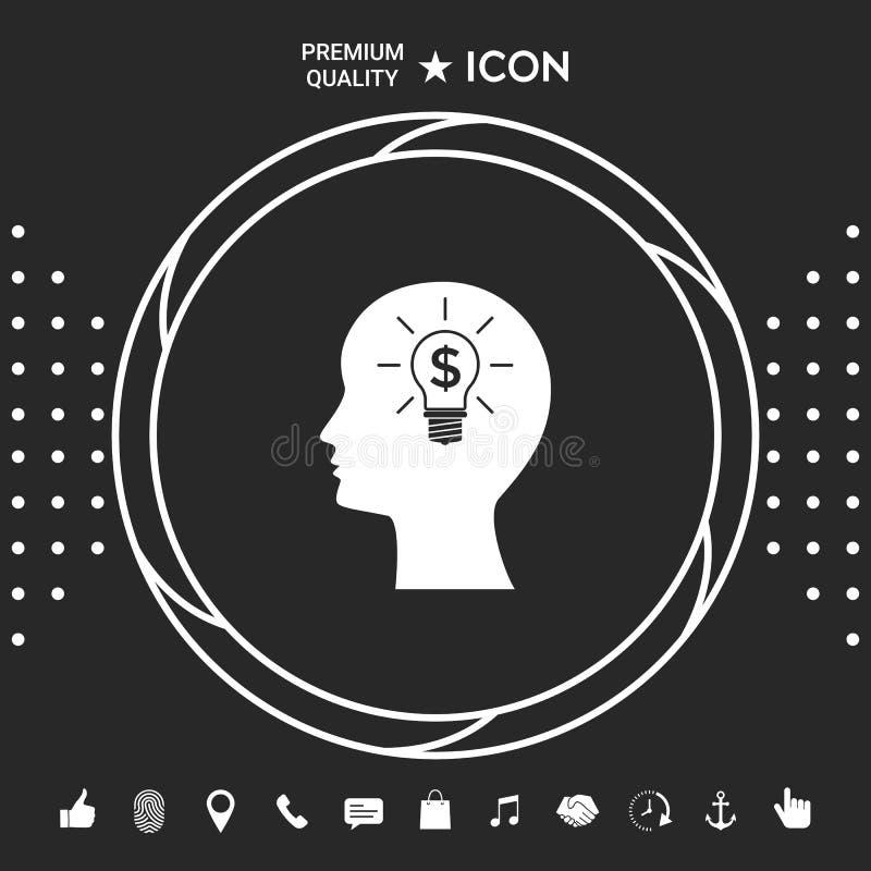Mężczyzna sylwetka - żarówka z dolarowym symbolu biznesu pojęciem ikona ilustracji