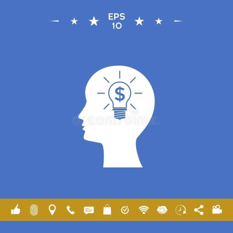 Mężczyzna sylwetka - żarówka z dolarowym symbolu biznesu pojęciem ikona royalty ilustracja