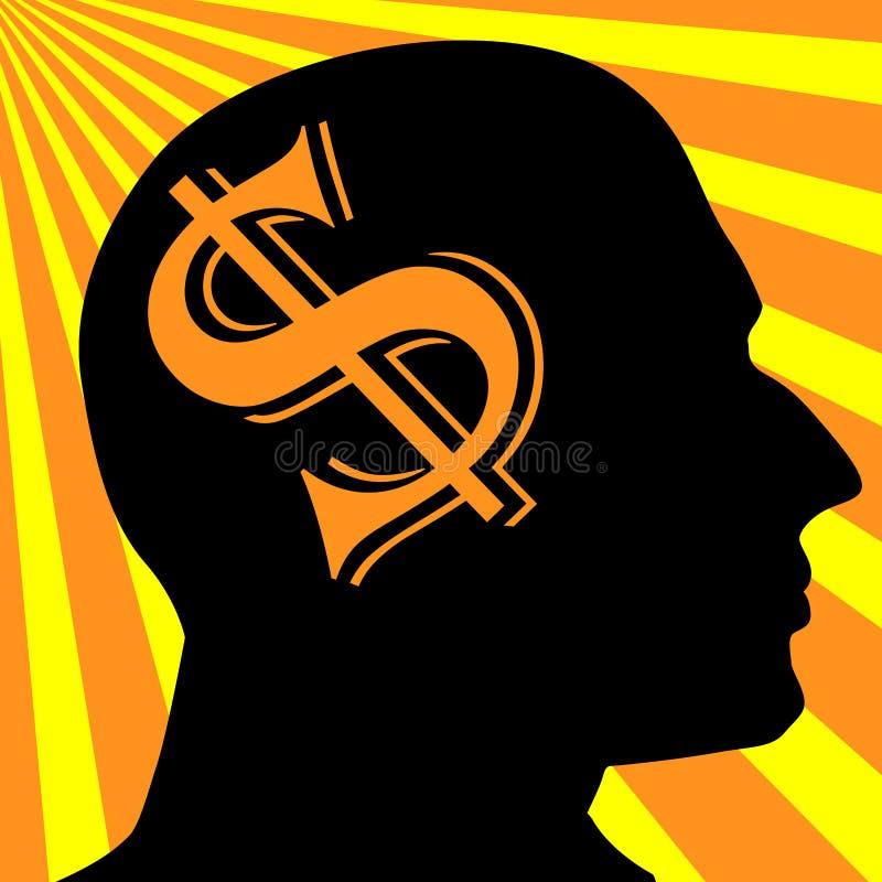 Mężczyzna sylwetka Dolarowy symbolu biznesu pojęcie ilustracji