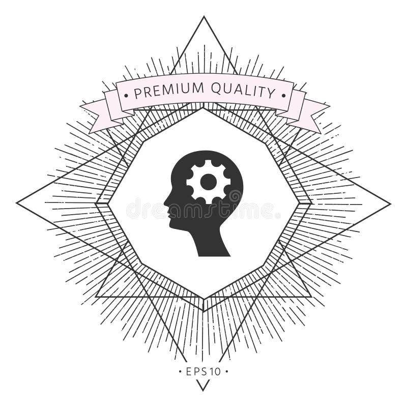 Mężczyzna sylwetka z przekładni ikoną ilustracja wektor
