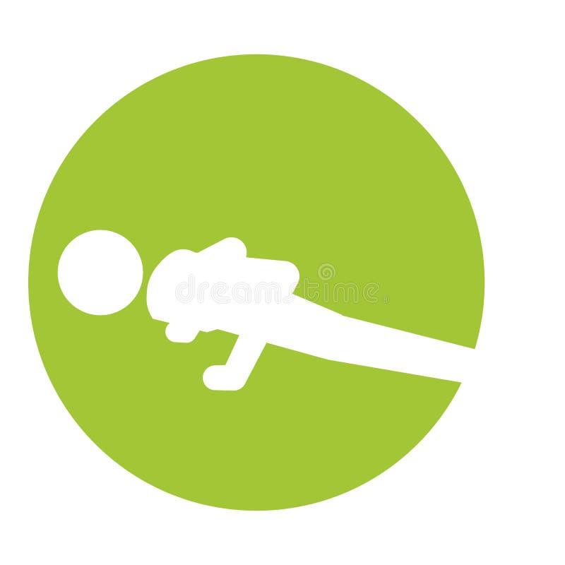 Mężczyzna sylwetki ćwiczyć pcha podnosi ikonę ilustracji