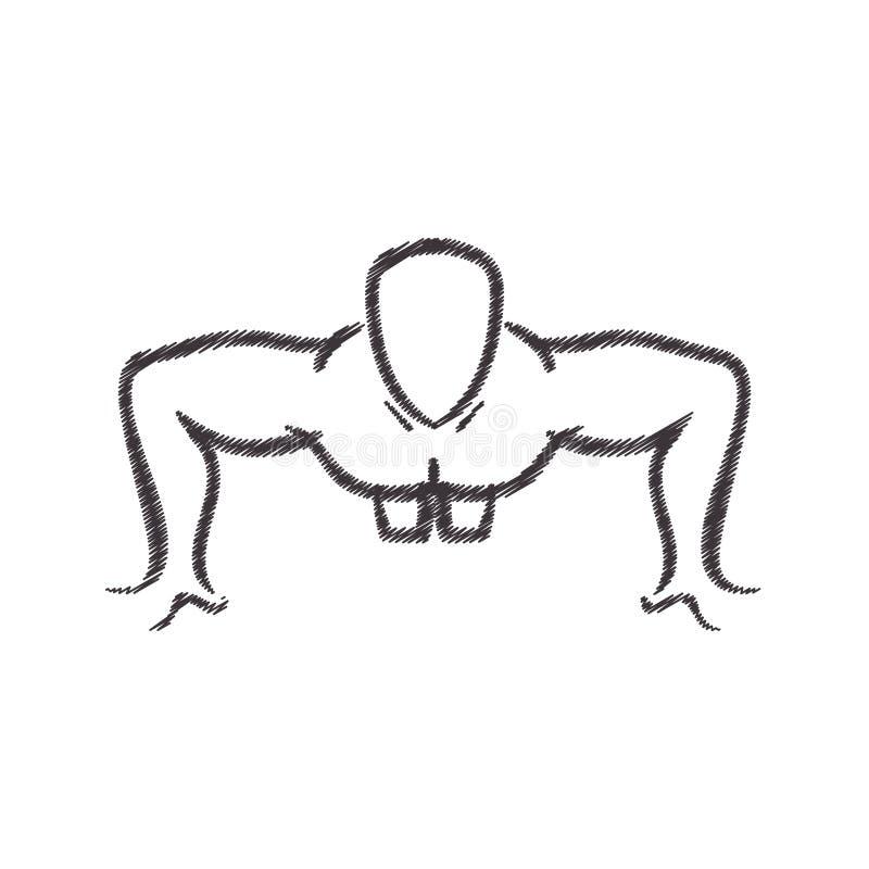 Mężczyzna sylwetki ćwiczyć pcha podnosi przód ilustracji