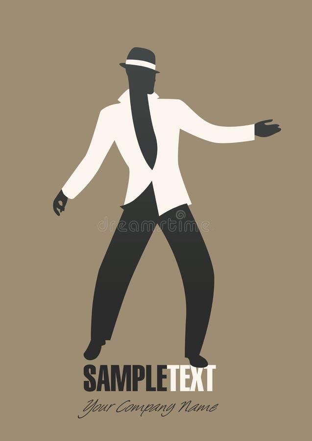 Mężczyzna sylwetki dancingowy jazz lub łacińska muzyka ilustracja wektor