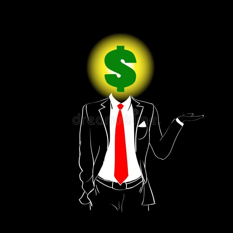 Mężczyzna sylwetki kostiumu krawata Dolarowego znaka głowy czerni Czerwony tło ilustracji