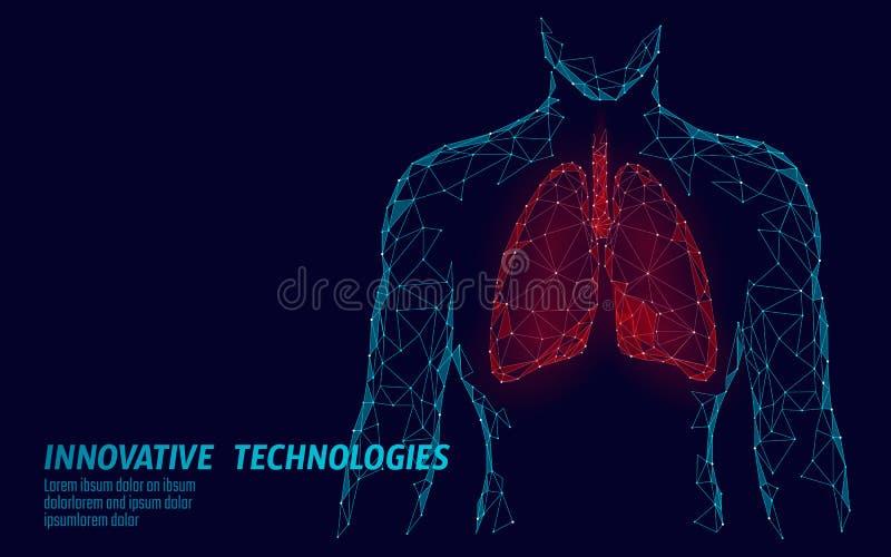 Mężczyzna sylwetki płuc 3d medycyny modela zdrowa depresja poli- Trójbok łączący kropki łuny punkt Online doktorski świat ilustracja wektor