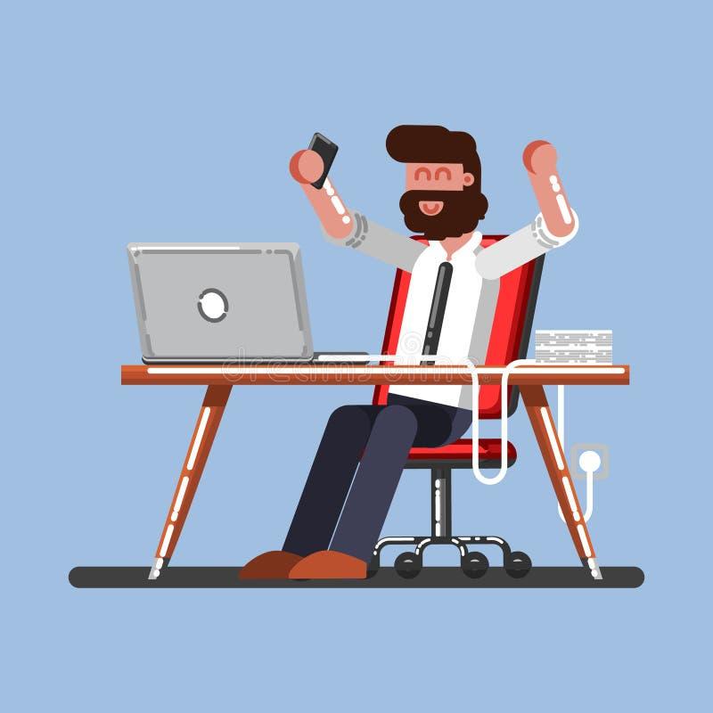 Mężczyzna szczęśliwy na jego pracie ilustracji