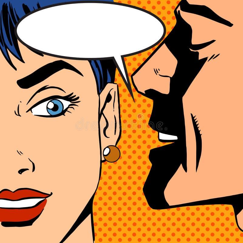 Mężczyzna szepcze dziewczyna wystrzału sztuki rocznika komiczkę royalty ilustracja