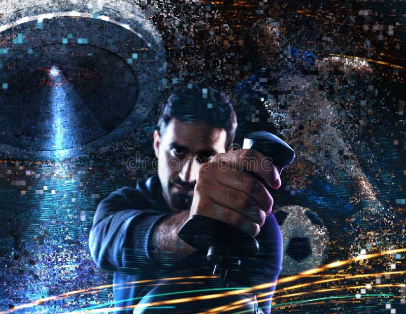 Mężczyzna sztuki z gra wideo z joystickiem fotografia stock