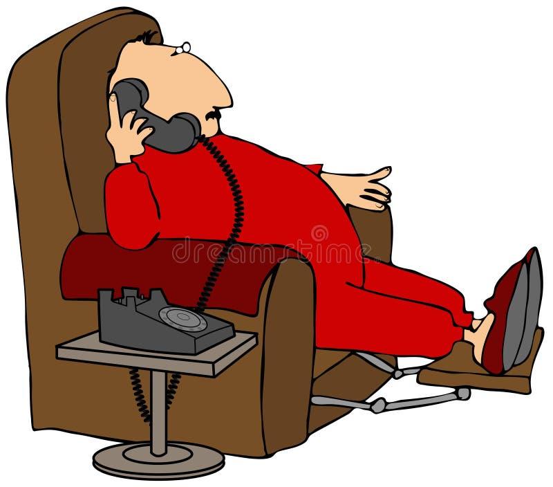 Mężczyzna target571_0_ na telefonie ilustracja wektor