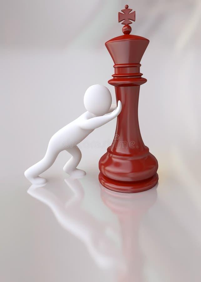 Mężczyzna TARGET1010_1_ Królewiątko Czerwoną Szachową Postać ilustracji