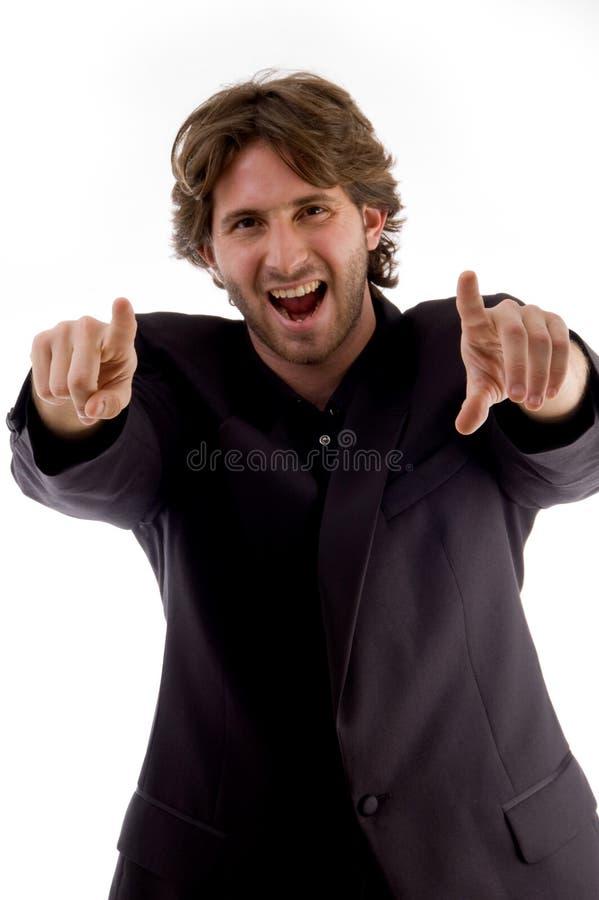 mężczyzna target3725_0_ uśmiechniętych potomstwa zdjęcia royalty free