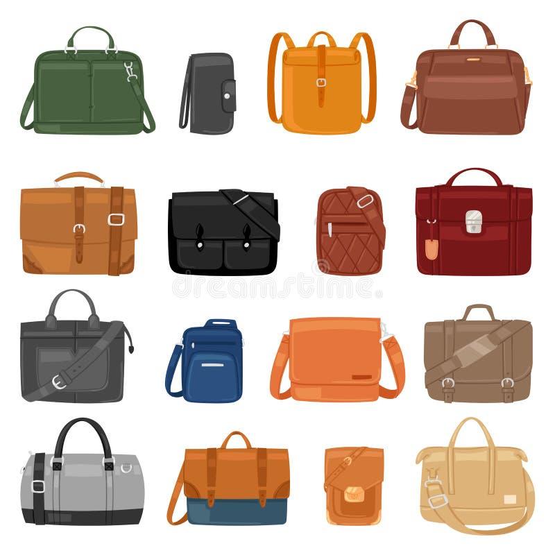 Mężczyzna torby wektorowi mężczyzna fasonują torebki, biznes skóry lub teczki notecase biznesmena ilustracyjny manlike zdobędący  ilustracja wektor