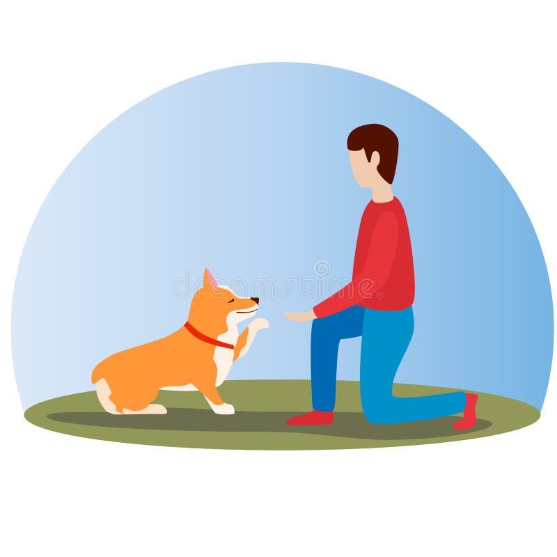 Mężczyzna trenuje jego Welsh corgi psa Szczęśliwy śliczny pies Walijski Corgi ilustracji